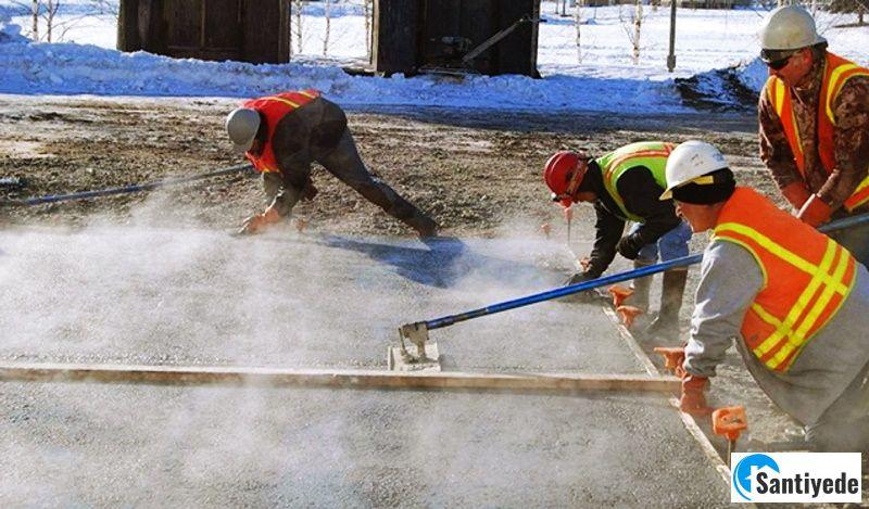 Soğuk havada beton dökümü