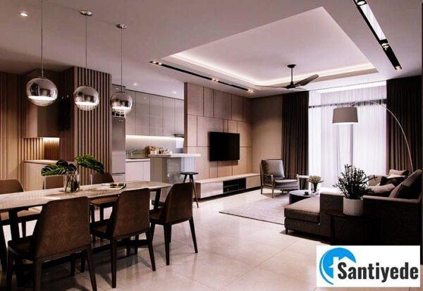 Amerikan mutfak asma tavan model tasarımı