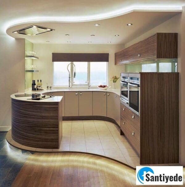 Döşeme şekli ile uyumlu mutfak tavanı