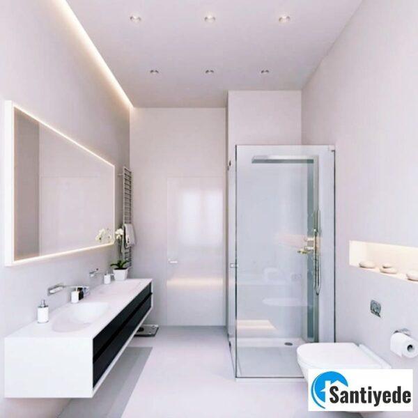 Gizli ışık bandı, spot ile yapılmış banyo asma tavan