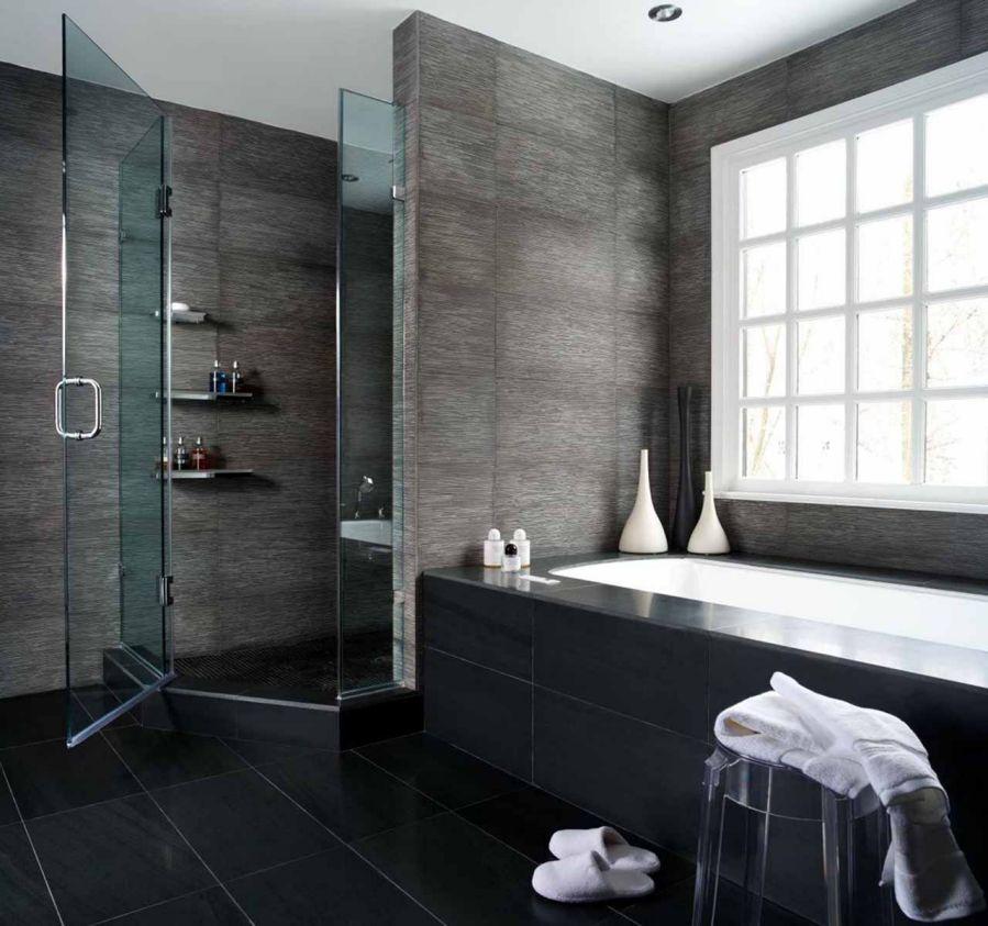 Gri renk banyo duvar ile tasarım