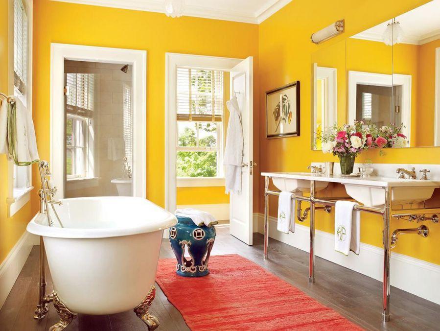 sarı ve beyaz banyo renk seçimi