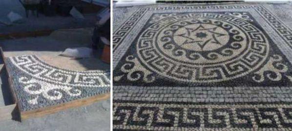 çakıl mozaik yaya yürüyüş yolu