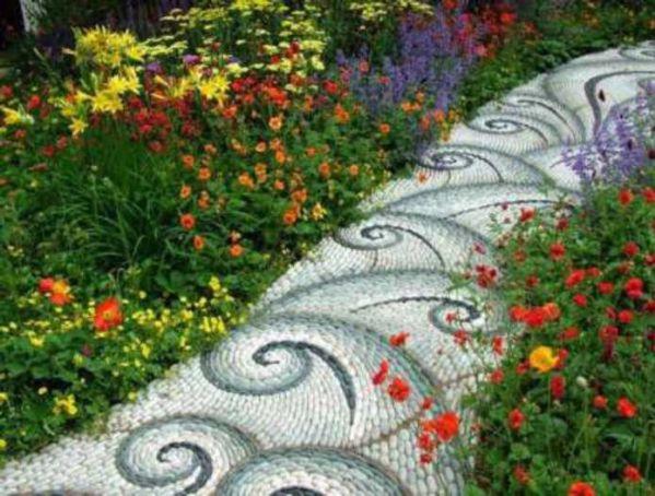Çakıl mozaik yer döşeme yaya yürüyüş yolu