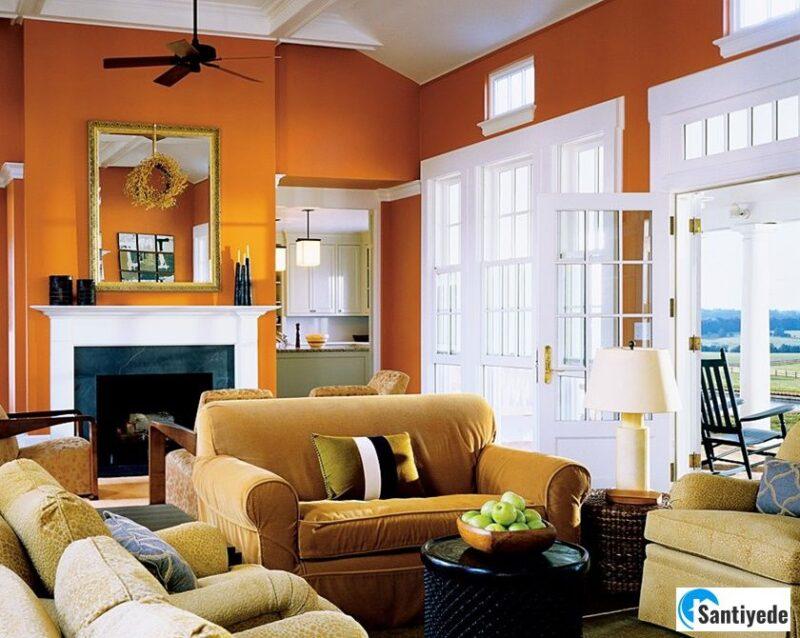 parlak turuncu ile aydınlık odalar