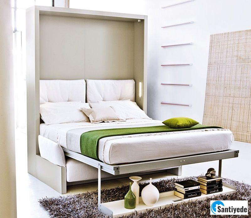 Katlanabilir yatak ile küçük yatak odası dekorasyonu