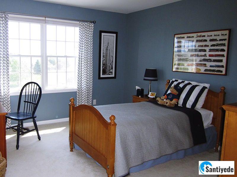 Mavi erkek çocuk odası rengi