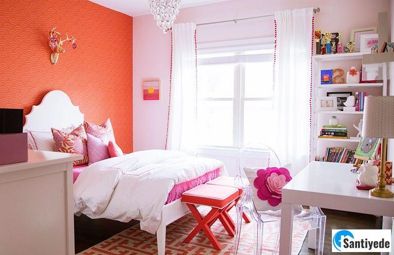 Turuncu pembe kız çocuk odası
