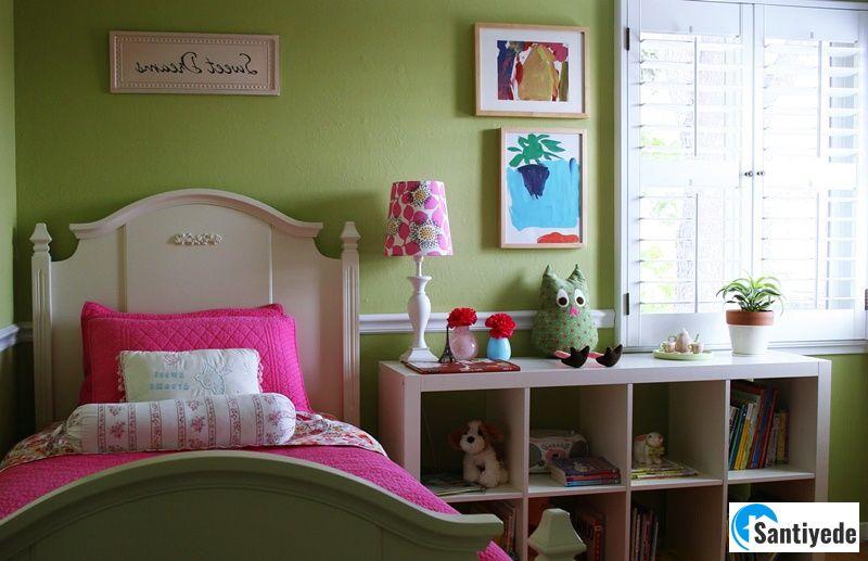 Yeşil pembe kız çocuk odası