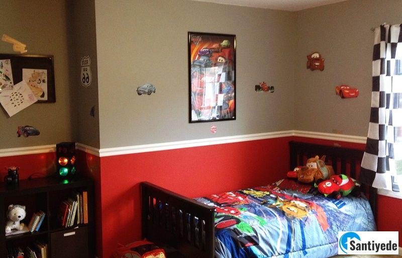 kırmızı erkek çocuk odası