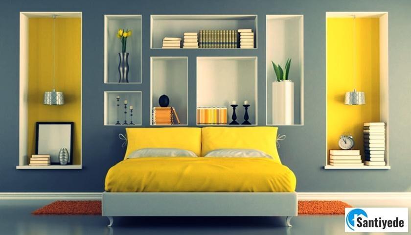 dekorasyonda sarı ile uyumlu renkler