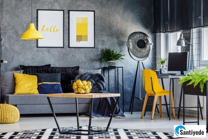 oturma odalarında sarı