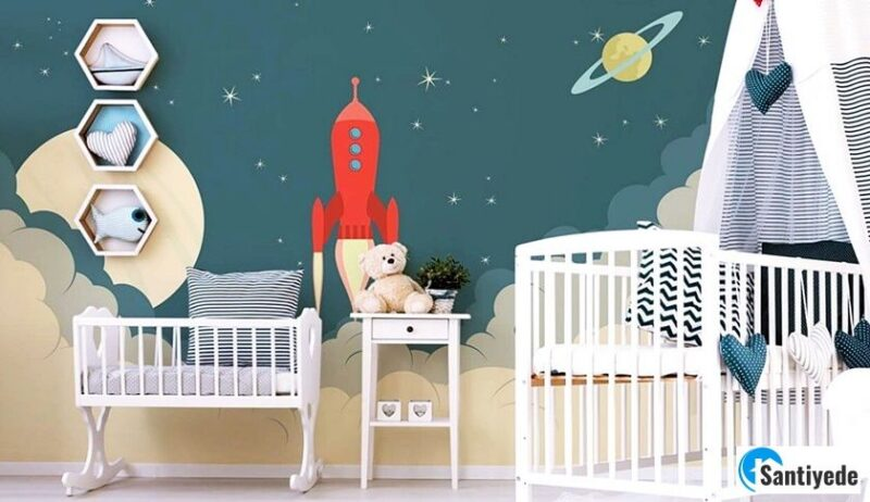bebek odası dekorasyonu duvar kağıdı