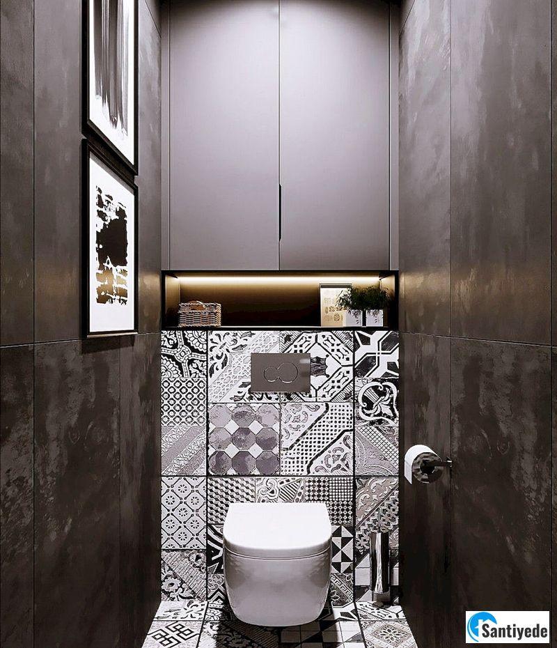 küçük tuvalet duvar dekorasyonu