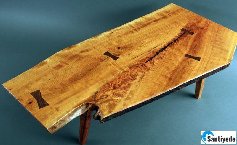 Kiraz ağacından doğal kütük ahşap masa