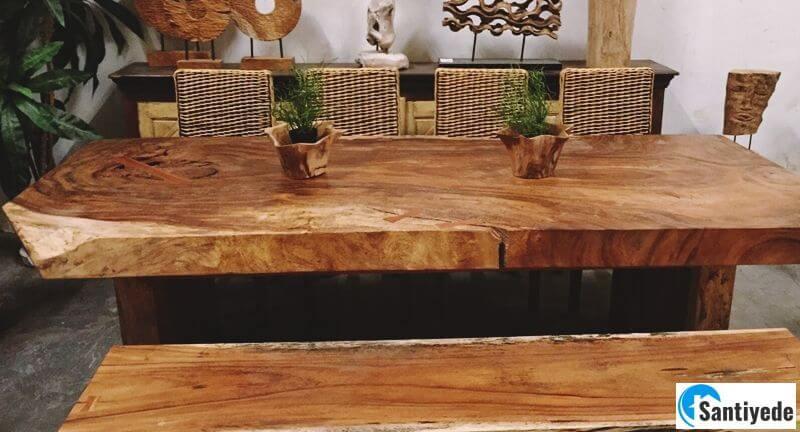 Kütük doğal mutfak masası kullanımı