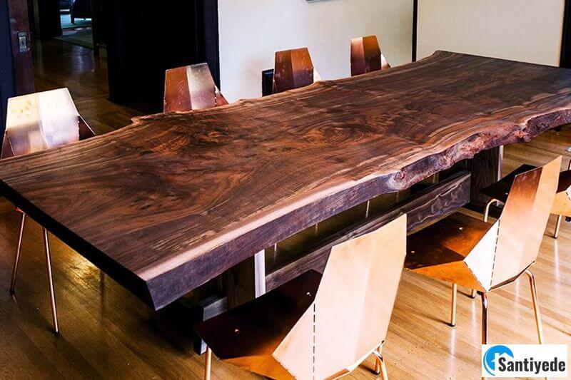 Ofis doğal kütük masa