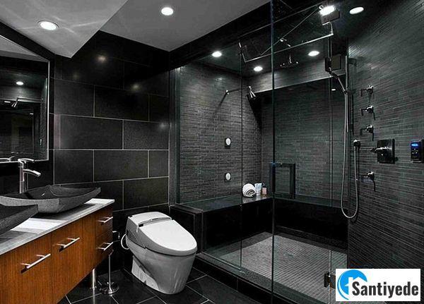 Siyah renk banyo tasarımı